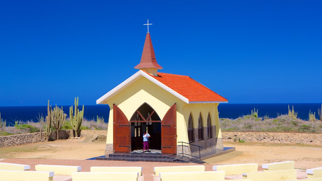 Oranjestad which includes a church or cathedral and general coastal views