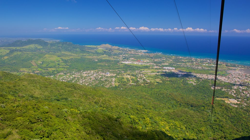 Puerto Plata Cable Car which includes general coastal views and forest scenes