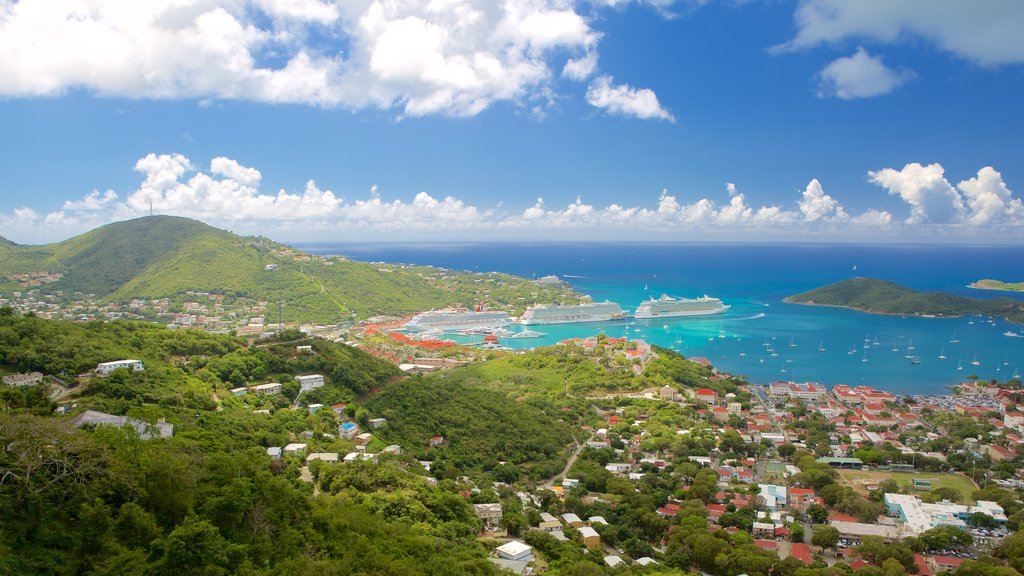 Charlotte Amalie showing a bay or harbor and a coastal town