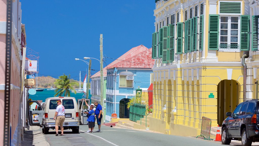 Christiansted which includes a small town or village and general coastal views