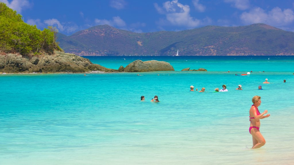 Trunk Bay which includes swimming and general coastal views