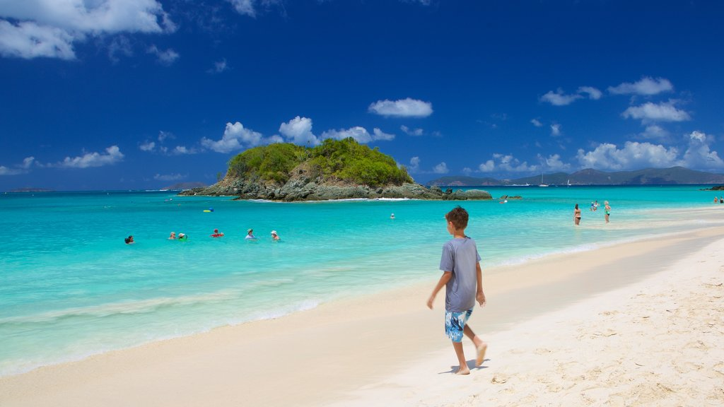 Trunk Bay showing a sandy beach as well as an individual child