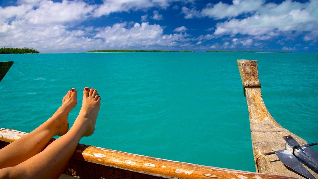 Aitutaki que incluye vistas generales de la costa