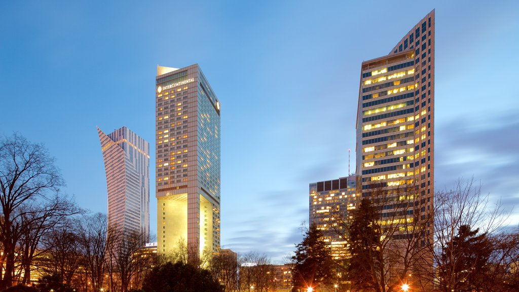 Warsaw featuring modern architecture, a city and night scenes