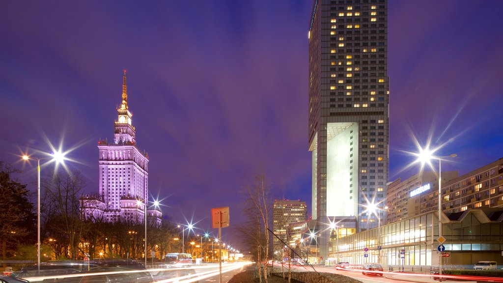 Palace of Culture and Science showing night scenes, a city and heritage architecture