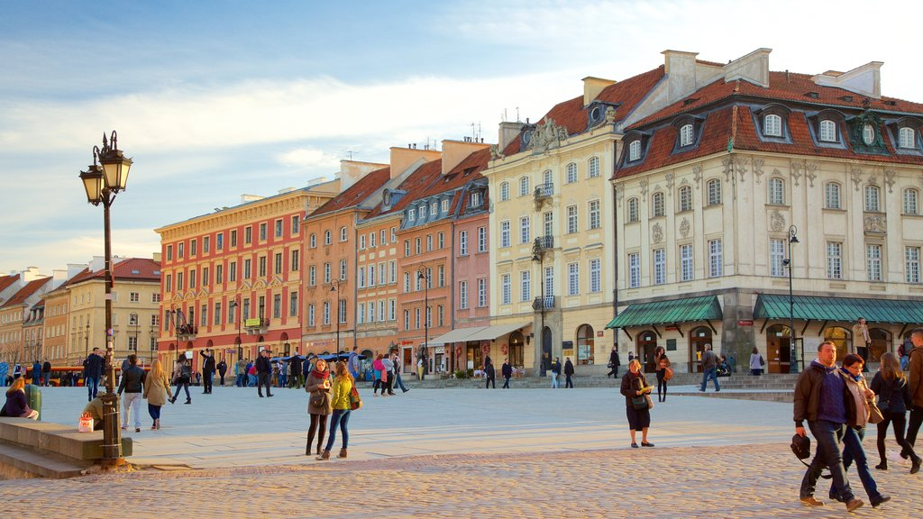 Warsaw featuring a square or plaza as well as a large group of people