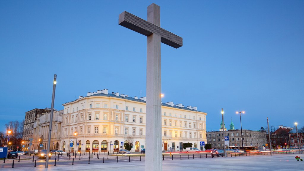 Pilsudski Square which includes religious aspects and a square or plaza