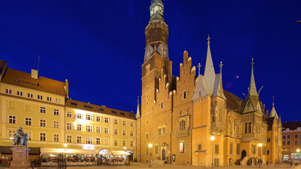 Wroclaw Town Hall which includes heritage elements, heritage architecture and night scenes