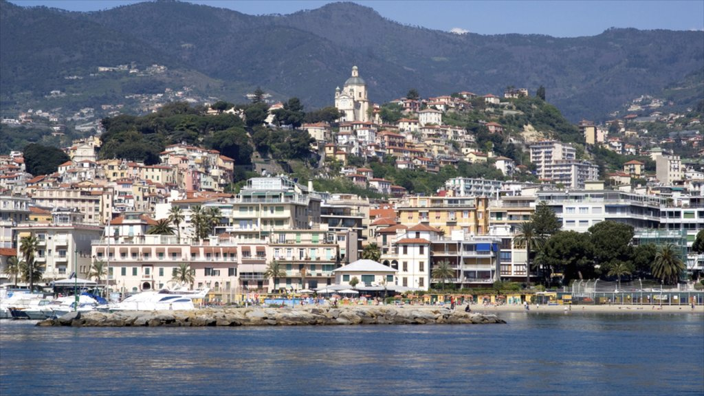 Sanremo which includes a city, mountains and general coastal views
