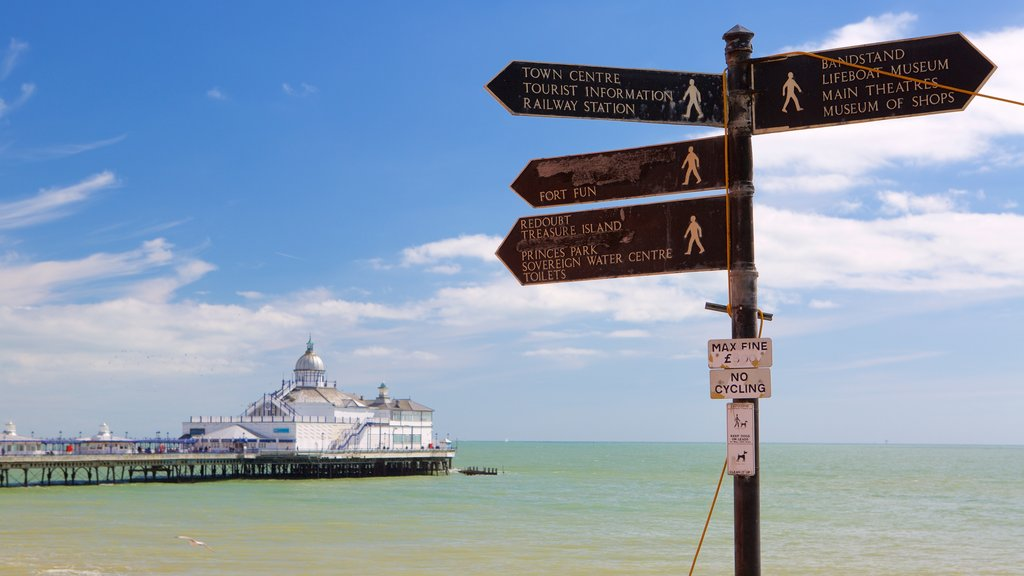 Eastbourne showing general coastal views and signage