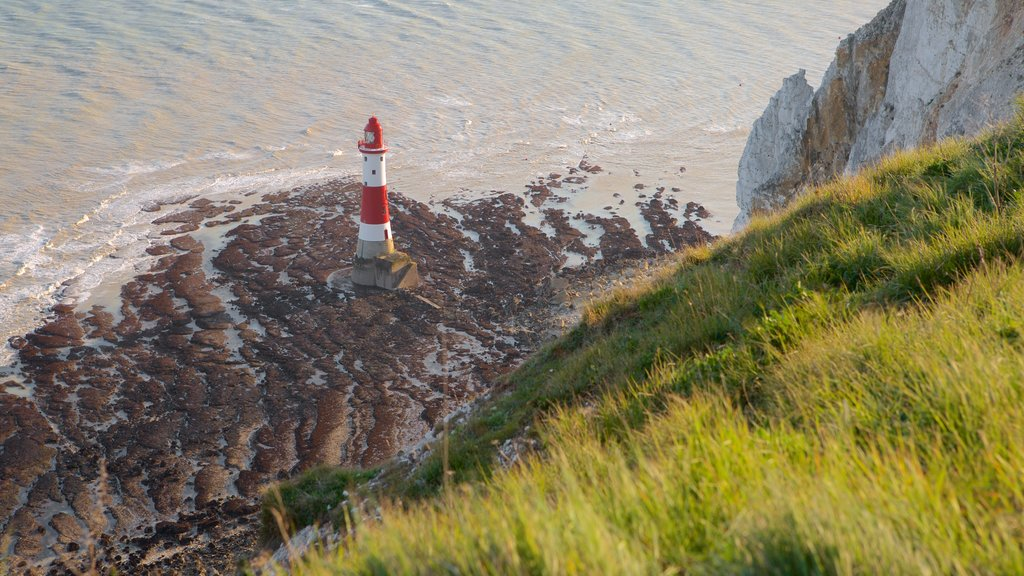 Beachy Head which includes general coastal views and a lighthouse