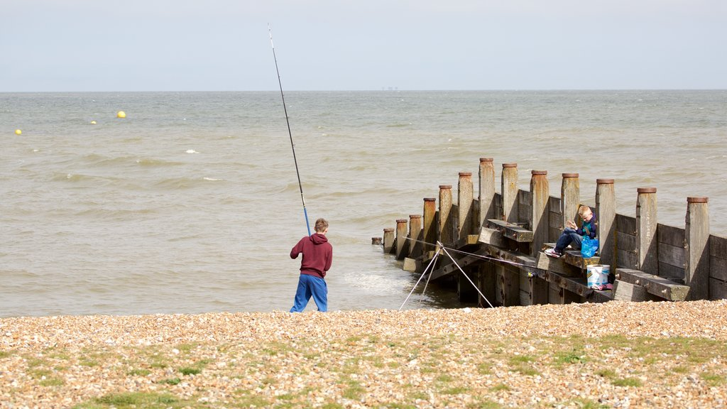 Whitstable Beach which includes fishing and a pebble beach as well as an individual male