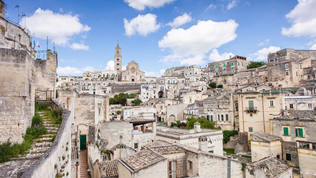Matera which includes heritage elements and a city