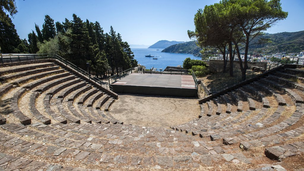 Lipari showing general coastal views, theater scenes and heritage elements