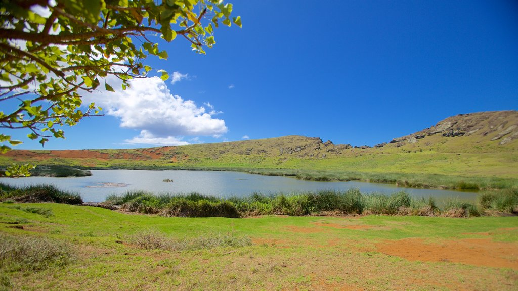Rano Raraku showing landscape views and a lake or waterhole