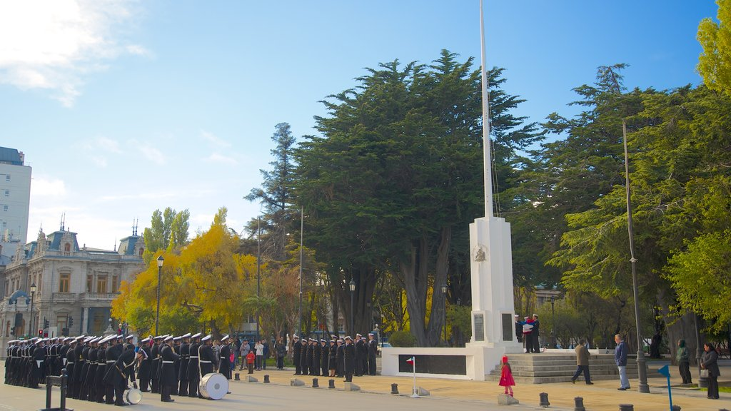 Punta Arenas which includes military items and a garden as well as a large group of people