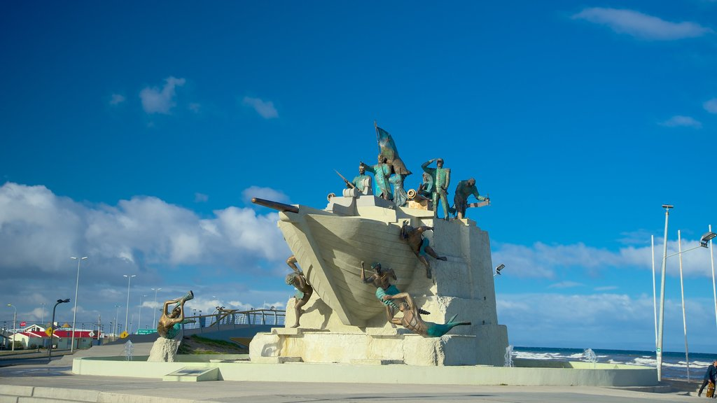 Punta Arenas which includes a statue or sculpture, outdoor art and general coastal views