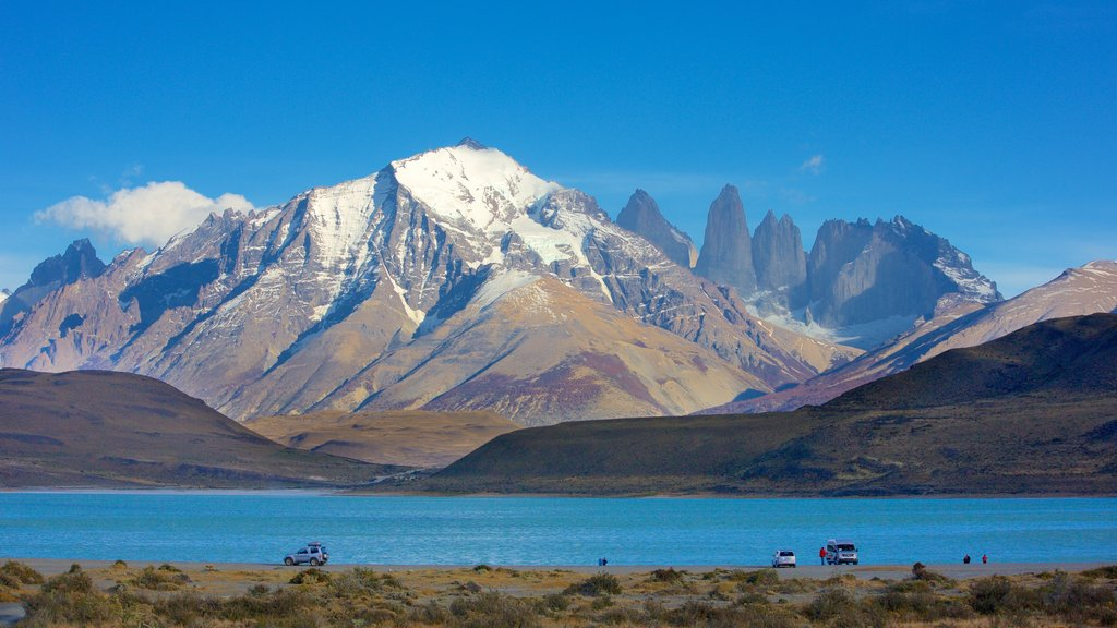 Torres Del Paine featuring a lake or waterhole, landscape views and mountains