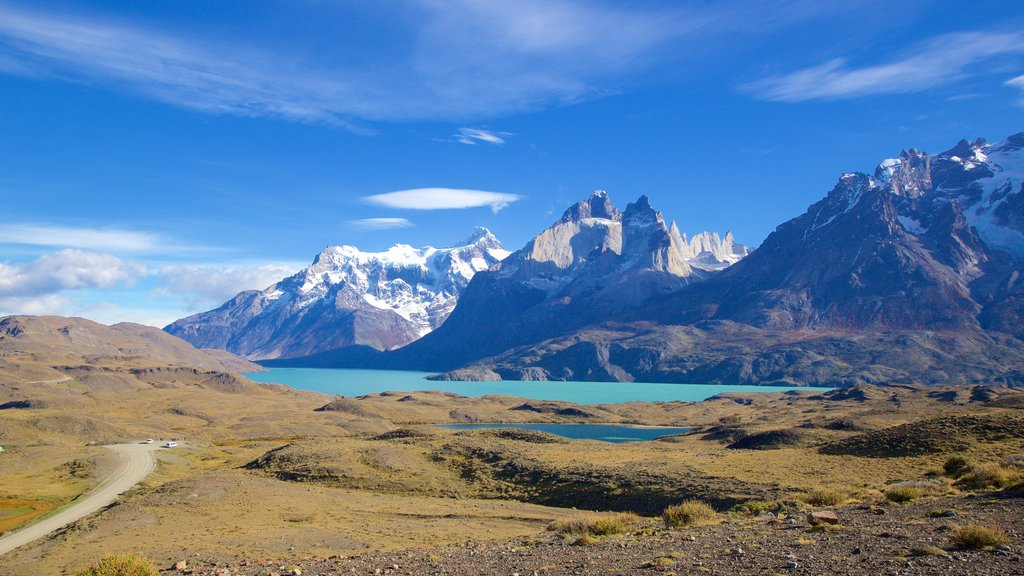 Torres del Paine National Park which includes landscape views, tranquil scenes and a lake or waterhole