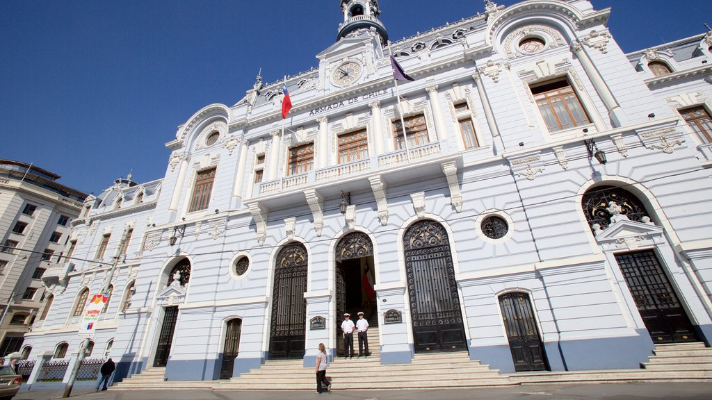Plaza Sotomayor which includes military items, heritage elements and an administrative buidling