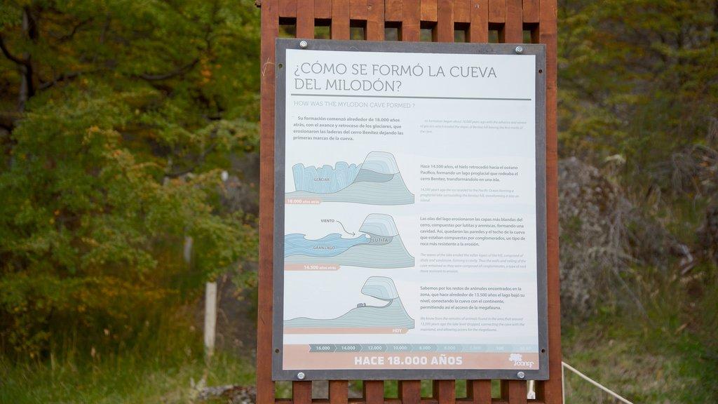 Cueva del Milodon showing signage