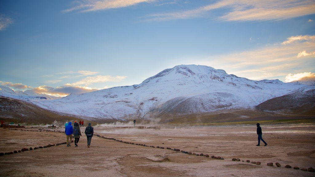 El Tatio Geyser Field which includes desert views and mountains as well as a small group of people