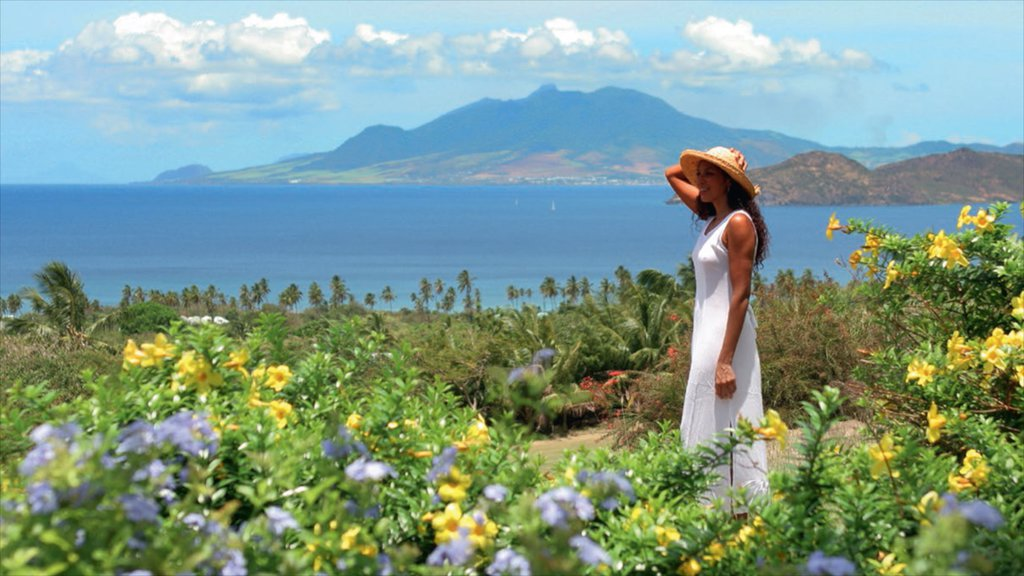 Nevis featuring wildflowers and general coastal views as well as an individual femail