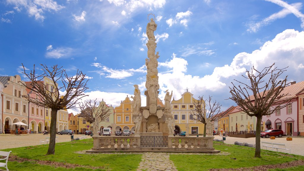 Telc which includes a garden and a city