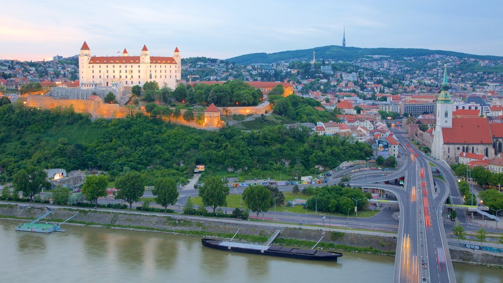 Bratislava Castle which includes a city, a river or creek and chateau or palace
