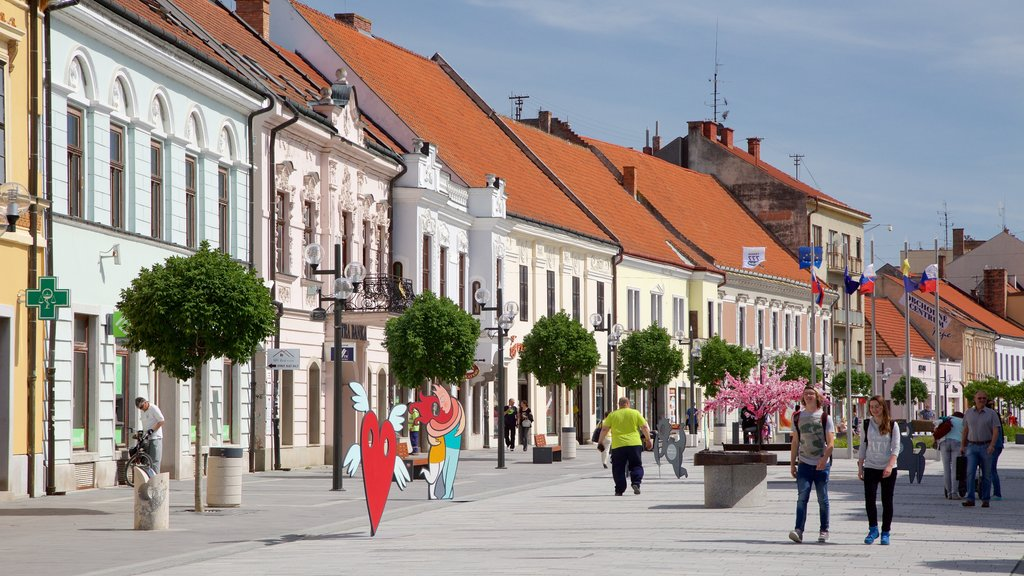 Trnava featuring street scenes and outdoor art as well as a small group of people