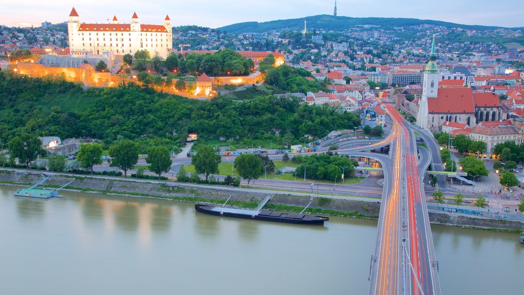 Bratislava Castle which includes a city, a river or creek and a castle