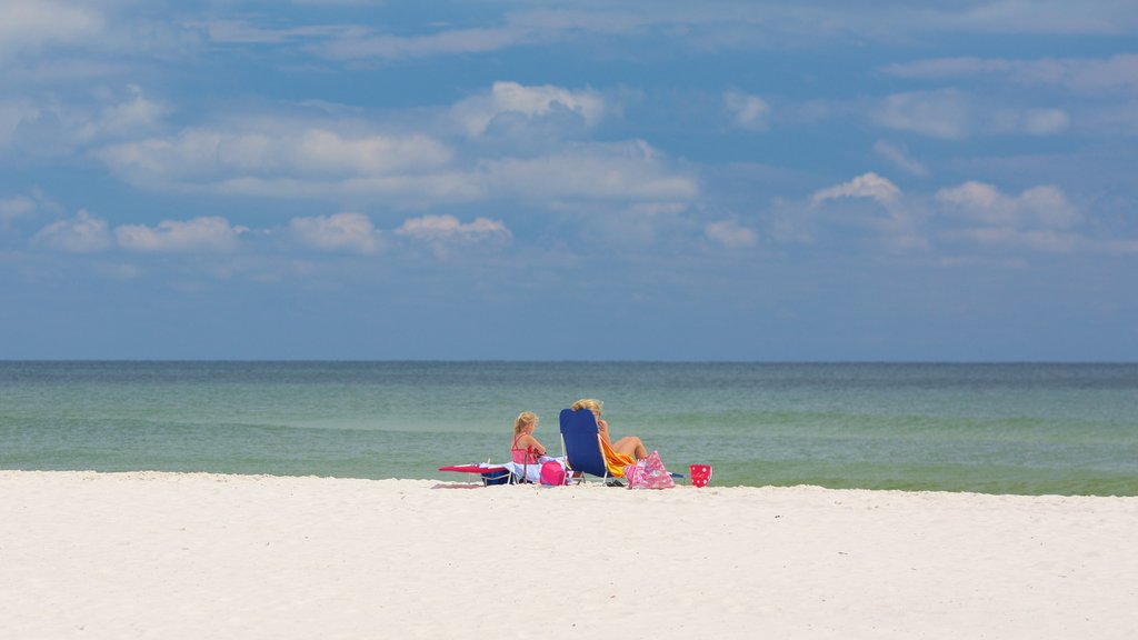 Gulf State Park featuring a sandy beach and general coastal views as well as a family