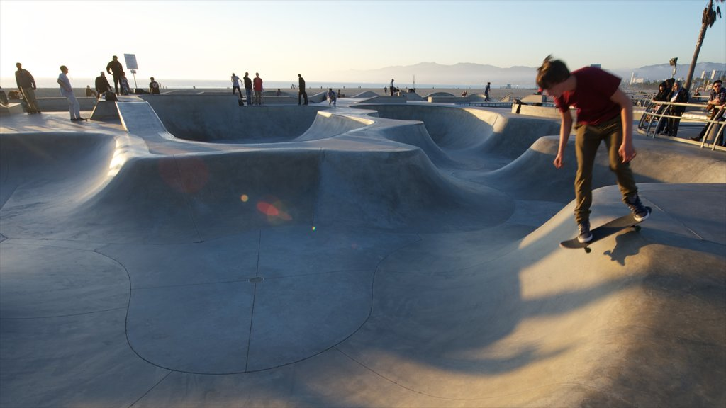 Venice Beach showing a sunset and a playground as well as an individual male