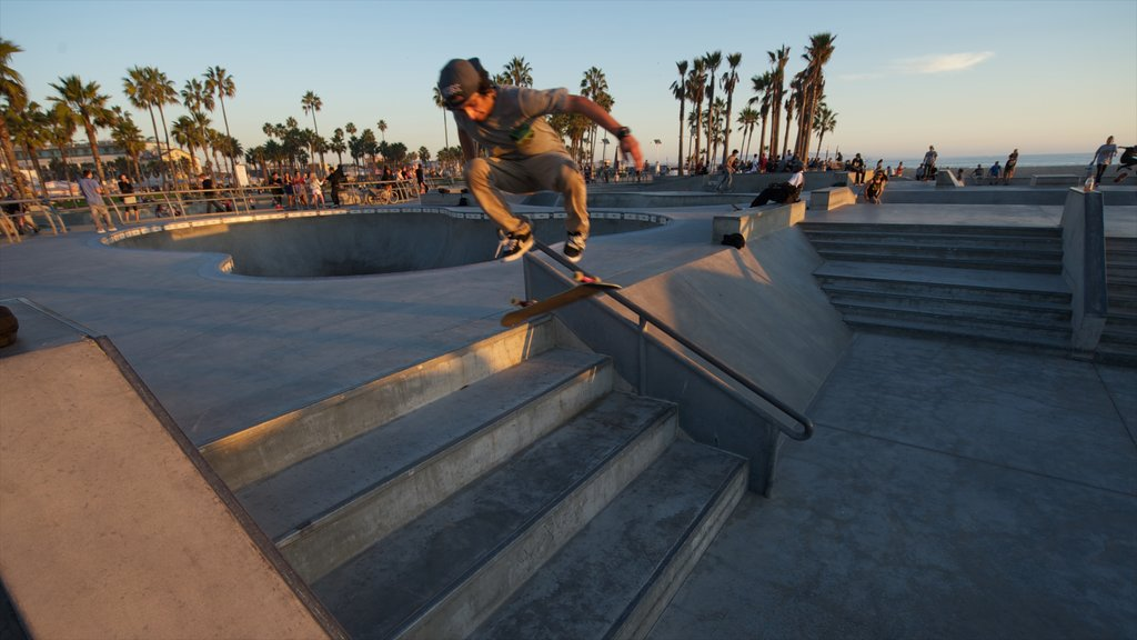 Venice Beach which includes a sunset and a playground as well as an individual male