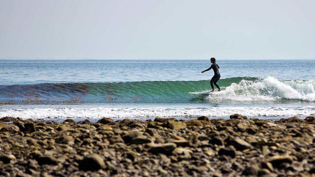 Malibú ofreciendo surf, olas y una playa de guijarros