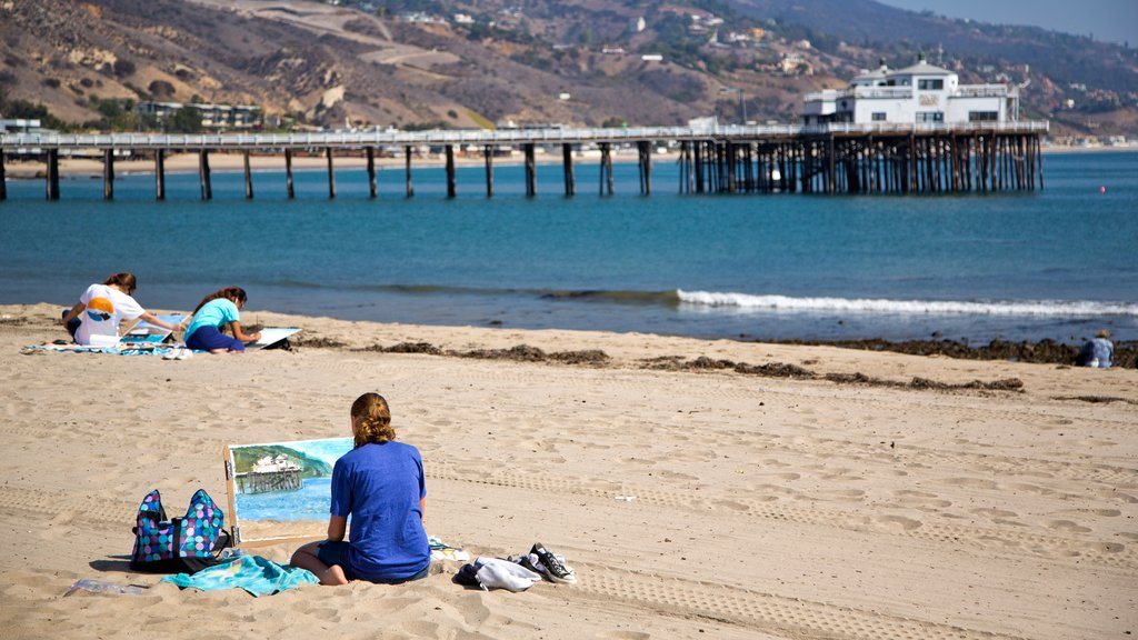 Malibu which includes a sandy beach, outdoor art and general coastal views
