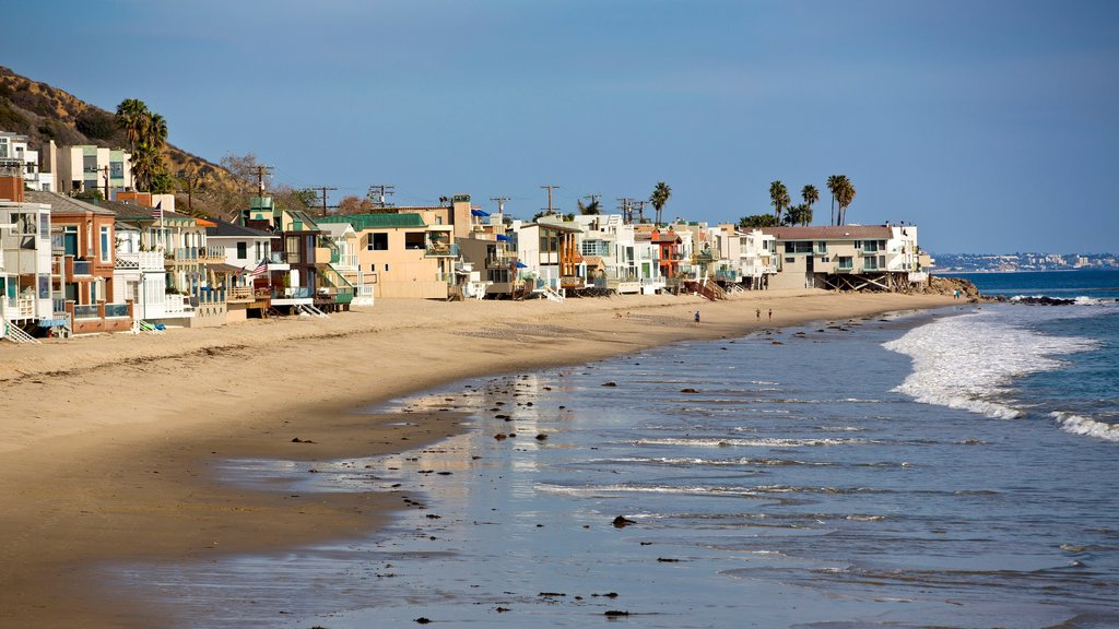 Malibu which includes general coastal views, a sandy beach and a coastal town