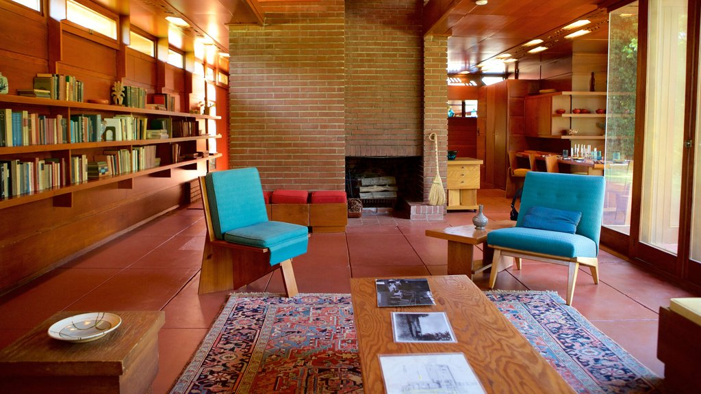 Frank Lloyd Wright Rosenbaum House showing a house and interior views