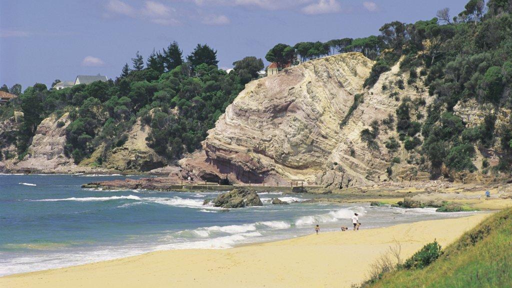 Kiama que incluye una playa, vistas generales de la costa y costa escarpada
