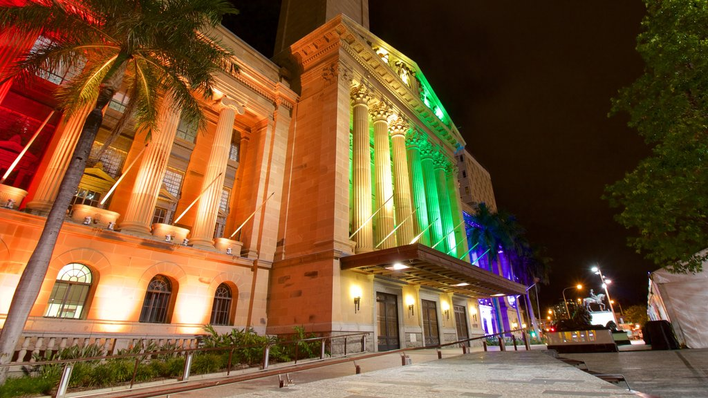 Brisbane City Hall featuring heritage architecture, heritage elements and night scenes