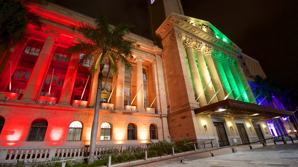 Brisbane City Hall featuring night scenes, heritage elements and heritage architecture
