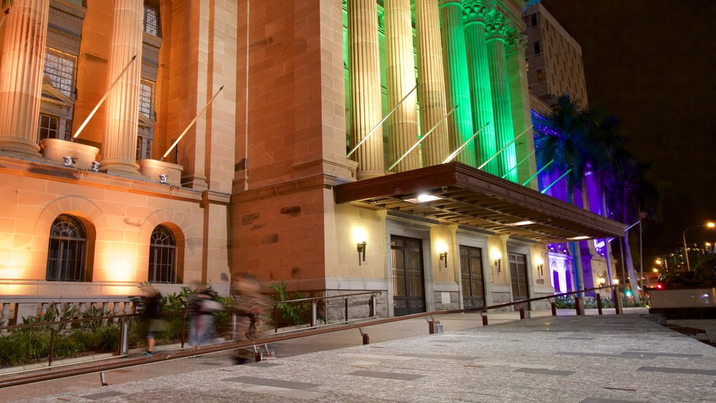 Brisbane City Hall featuring heritage architecture, night scenes and heritage elements