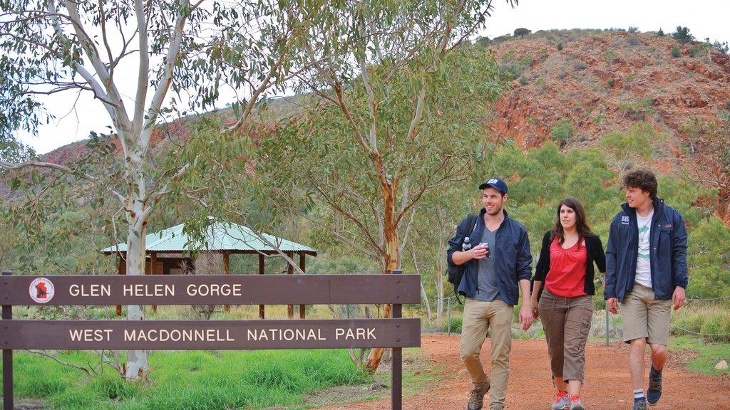 Uluru que incluye escenas tranquilas y también un pequeño grupo de personas