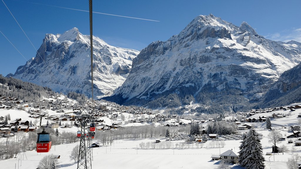 Lauterbrunnen featuring snow, a gondola and mountains
