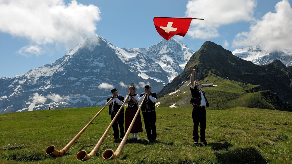 Lauterbrunnen featuring a festival and music as well as a small group of people
