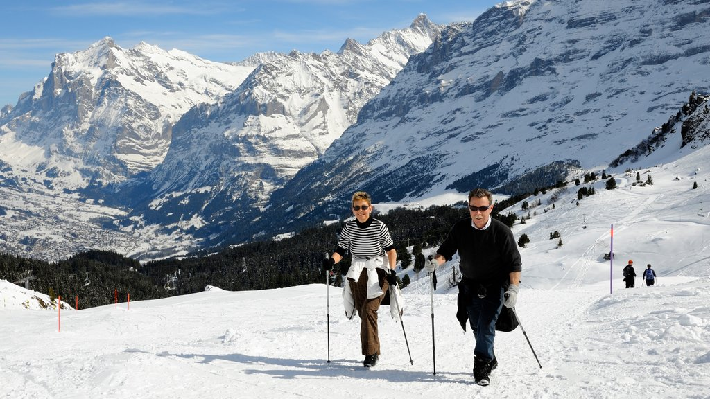 Lauterbrunnen showing hiking or walking, mountains and snow