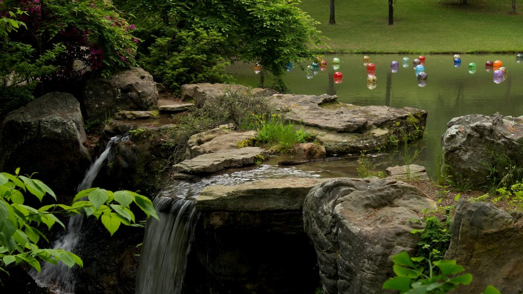 Hot Springs showing a cascade, a pond and a garden