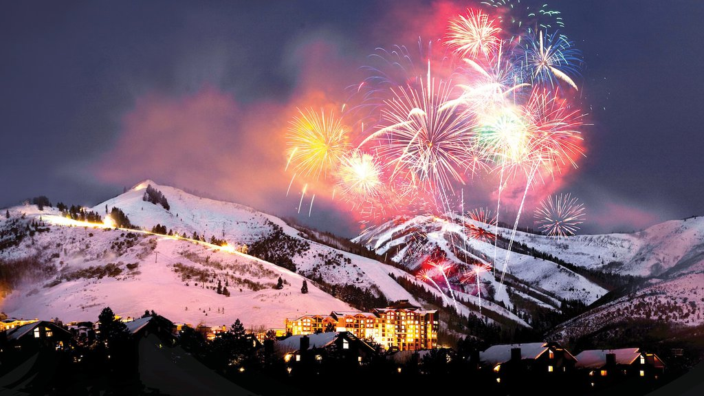 Canyons Resort featuring night scenes, nightlife and mountains