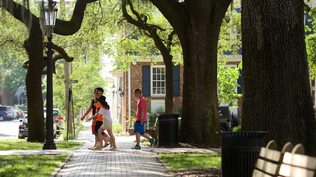 Oglethorpe Square featuring street scenes as well as a small group of people