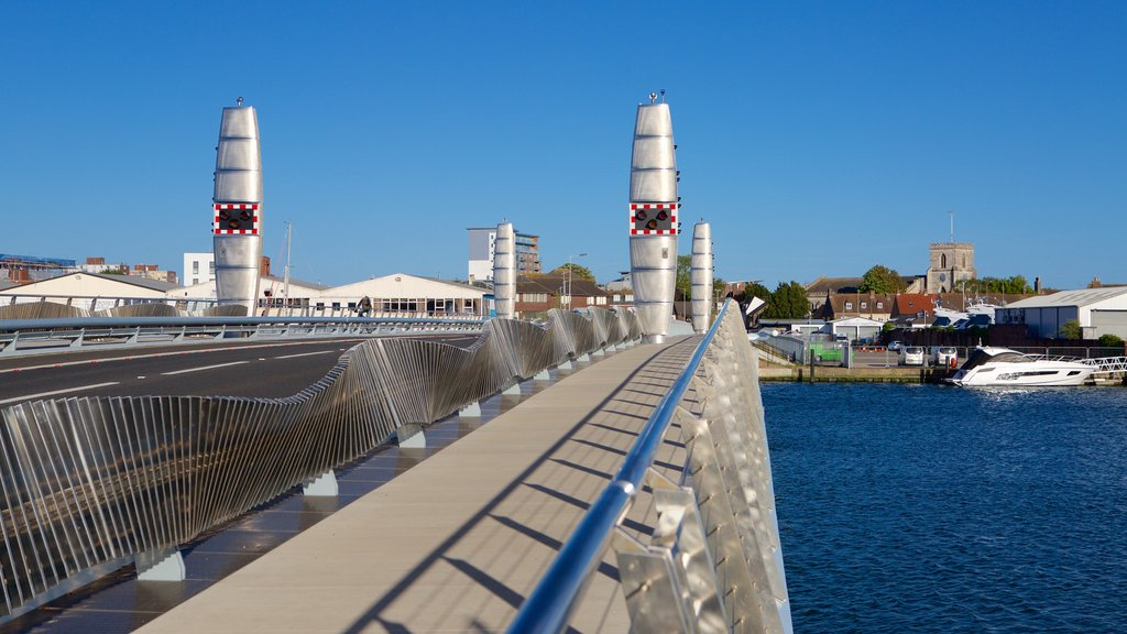 Poole featuring a bridge, a river or creek and modern architecture